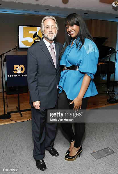 Recording Academy President/CEO Neil Portnow and Musical Artist Jazmine Sullivan attend the New York Chapter of NARAS Open House Reception at New...