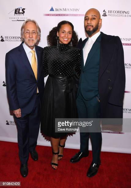 Recording Academy President/CEO Neil Portnow honorees Alicia Keys and Swizz Beatz attend the Producers and Engineers Wing 11th Annual GRAMMY Week...