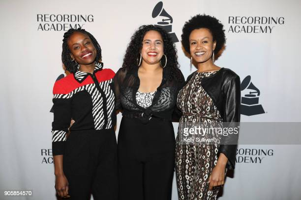 Recording Academy SF Chapter Board Members Lyz Luke and Meklit Hadero pose for a photo on the red carpet at the San Francisco 60th GRAMMY Award...
