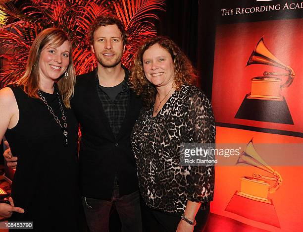 Recording Academy's Ashley Lamb Ernst and Grammy Nominee Dierks Bentley and Recording sr project mananger Lyn Aurelius during the GRAMMY Nominee...