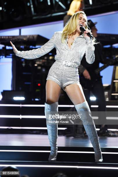 Recording aritst Miley Cyrus performs onstage during 60th Annual GRAMMY Awards I'm Still Standing A GRAMMY Salute To Elton John at the Theater at...