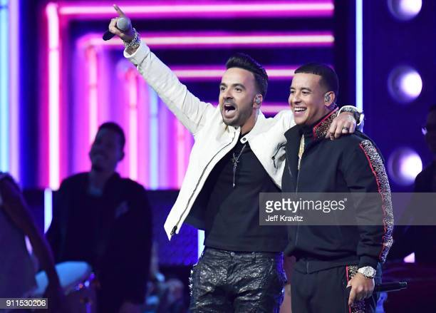 Recording aritsts Luis Fonsi and Daddy Yankee perform onstage during the 60th Annual GRAMMY Awards at Madison Square Garden on January 28 2018 in New...
