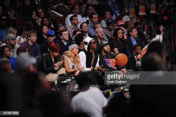 Recording artist 2 Chainz sits courtside during the 2013 NBA AllStar Game presented by Kia on February 17 2013 at the Toyota Center in Houston Texas...