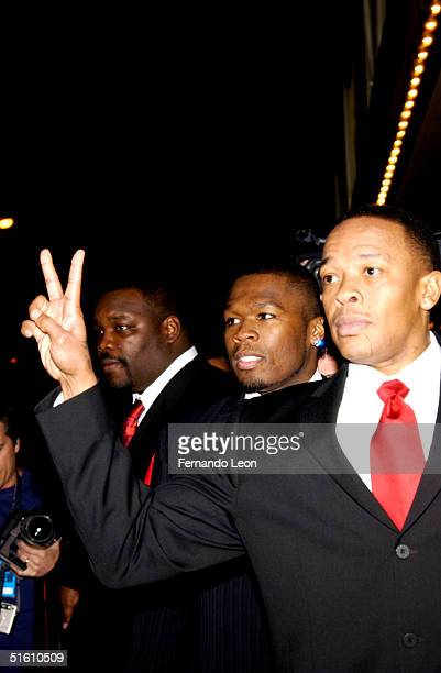Recording artist 50 Cent and Producer/recording artist Dr DRE attend the Eminem and Sirius Satellite launch of Shade 45 a new satellite radio station...