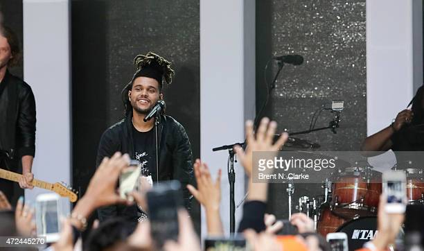 Recording artist Abel Tesfaye aka 'The Weeknd' performs on NBC's 'Today' at Rockefeller Plaza on May 7 2015 in New York New York
