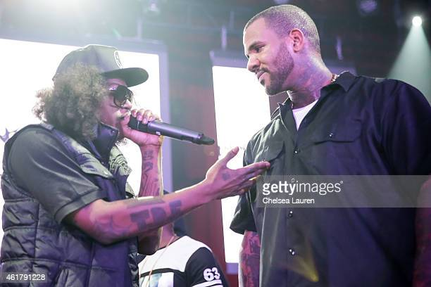 Recording artist AbSoul and rapper The Game on stage at The Documentary 10th anniversary party and concert on January 18 2015 in Los Angeles...