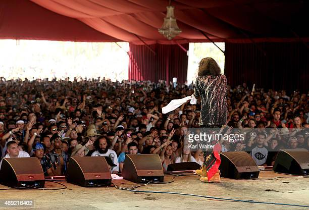 Recording artist AbSoul performs onstage during day 1 of the 2015 Coachella Valley Music Arts Festival at the Empire Polo Club on April 10 2015 in...