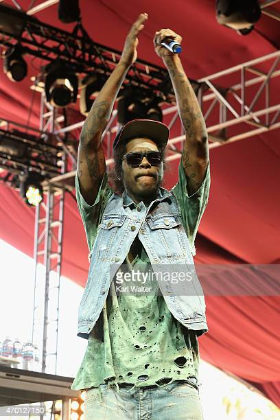 Recording artist AbSoul performs onstage during day 1 of the 2015 Coachella Valley Music And Arts Festival at The Empire Polo Club on April 17 2015...