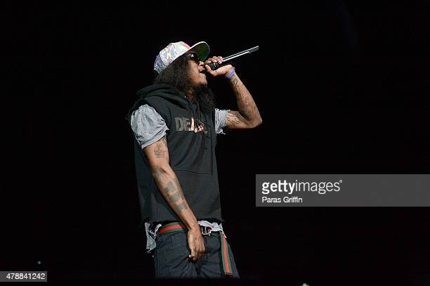 Recording artist AbSoul performs onstage during the Ice Cube Kendrick Lamar Snoop Dogg Schoolboy Q AbSoul Jay Rock concert during 2015 BET Experience...