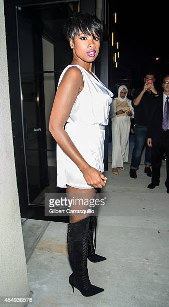 Recording artist actress Jennifer Hudson is seen at the Versus Versace Spring 2015 Collection during MercedesBenz Fashion Week at Metropolitan West...
