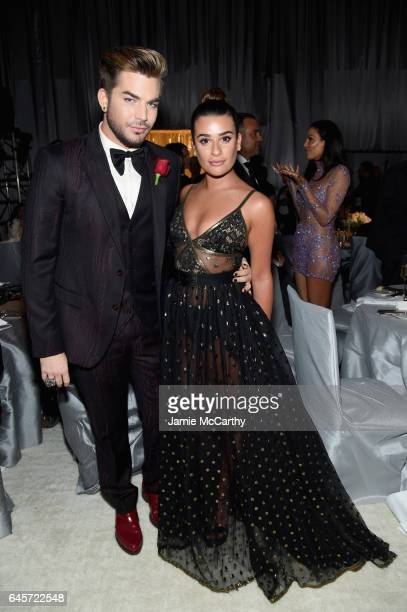 Recording Artist Adam Lambert and Actor Lea Michele attends the 25th Annual Elton John AIDS Foundation's Academy Awards Viewing Party at The City of...