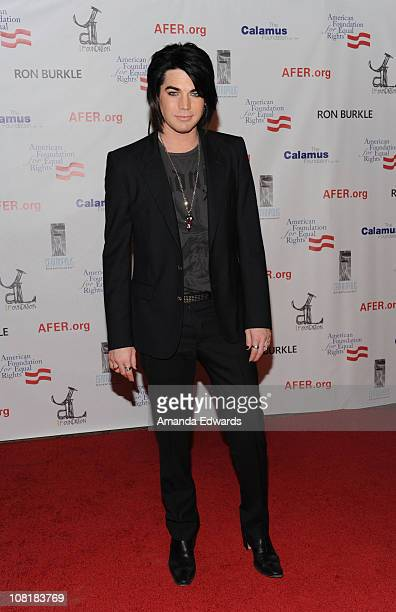 Recording artist Adam Lambert arrives at Elton John's private benefit concert for the American Foundation for Equal Rights on January 19, 2011 in Los...