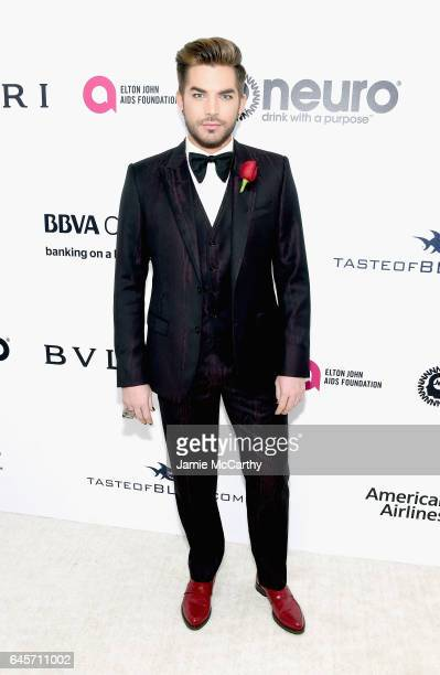 Recording Artist Adam Lambert attends the 25th Annual Elton John AIDS Foundation's Academy Awards Viewing Party at The City of West Hollywood Park on...