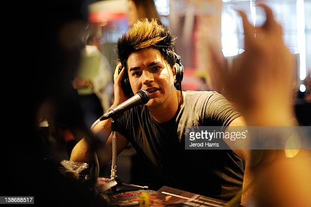 Recording artist Adam Lambert backstage at the GRAMMYs Dial Global Radio Remotes during The 54th Annual GRAMMY Awards at Staples Center on February...