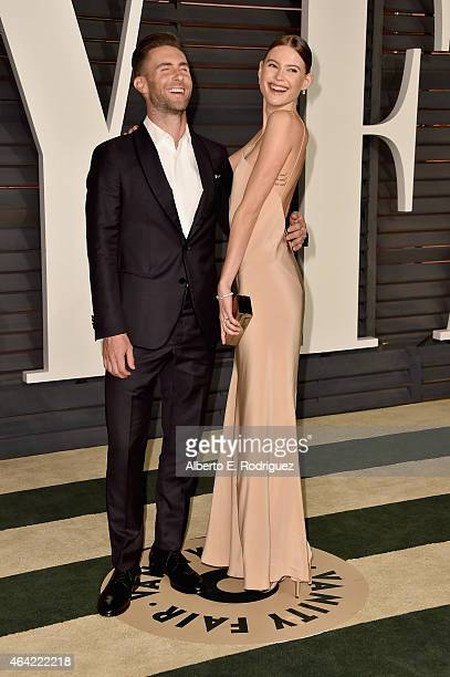 Recording artist Adam Levine and Model Behati Prinsloo attend the 2015 Vanity Fair Oscar Party hosted by Graydon Carter at Wallis Annenberg Center...