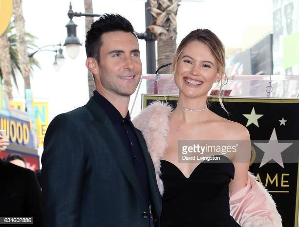 Recording artist Adam Levine and wife model Behati Prinsloo attend his being honored with a Star on the Hollywood Walk of Fame on February 10 2017 in...
