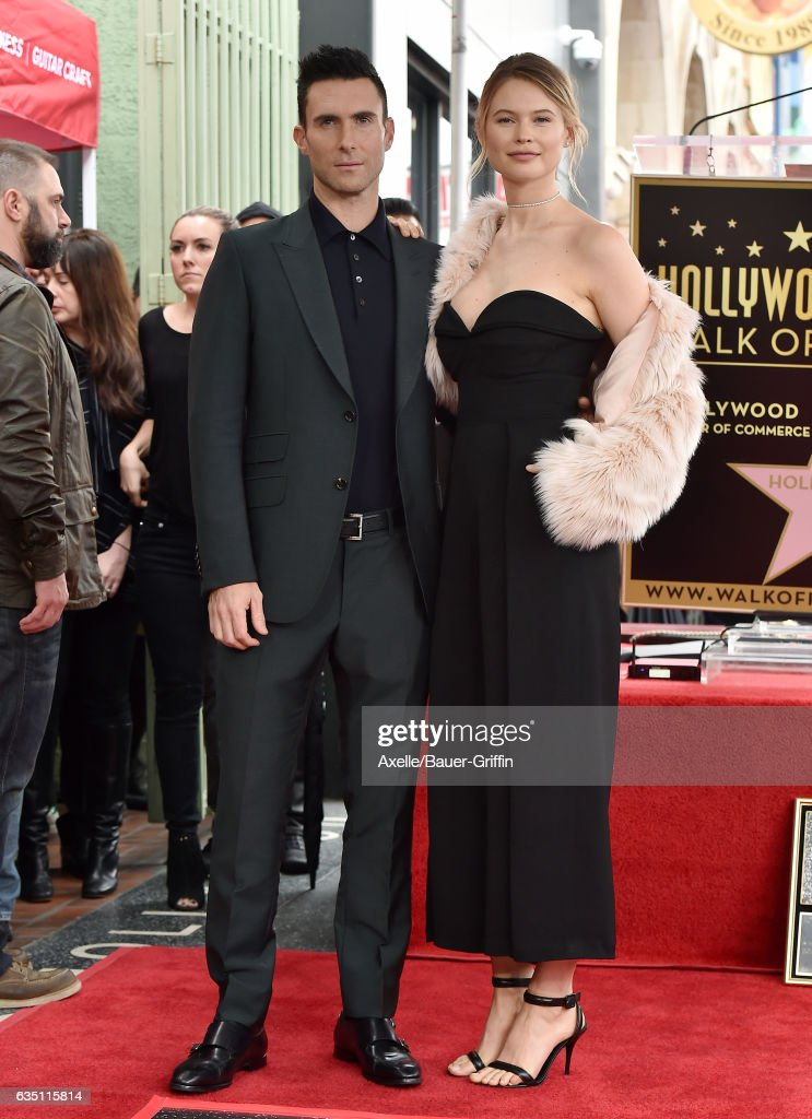 Recording artist Adam Levine and wife model Behati Prinsloo attend the ceremony honoring Adam Levine with star on the Hollywood Walk of Fame on February 10, 2017 in Hollywood, California.