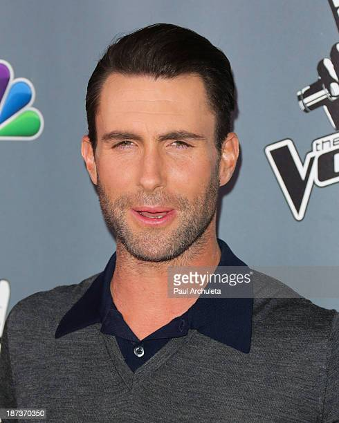 Recording Artist Adam Levine attends the 'The Voice' season 5 Top 12 red carpet event at Universal Studios Hollywood on November 7 2013 in Universal...