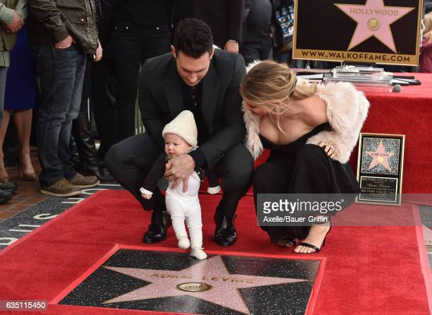 Recording artist Adam Levine, model Behati Prinsloo and daughter Dusty Rose Levine attend the ceremony honoring Adam Levine with star on the...