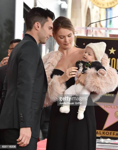 Recording artist Adam Levine model Behati Prinsloo and daughter Dusty Rose Levine attend the ceremony honoring Adam Levine with star on the Hollywood...