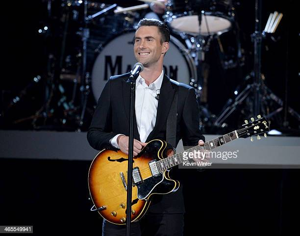 Recording artist Adam Levine of Maroon 5 performs onstage during 'The Night That Changed America A GRAMMY Salute To The Beatles' at the Los Angeles...