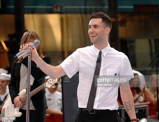 Recording artist Adam Levine of the music group Maroon 5 performs during the NBC 'Today' Show summer concert series in Rockefeller Center on May 28...