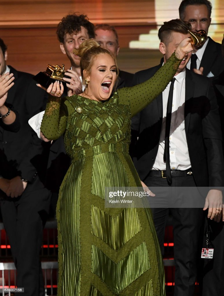 Recording artist Adele accepts the Album Of The Year award for '25' onstage during The 59th GRAMMY Awards at STAPLES Center on February 12, 2017 in Los Angeles, California.