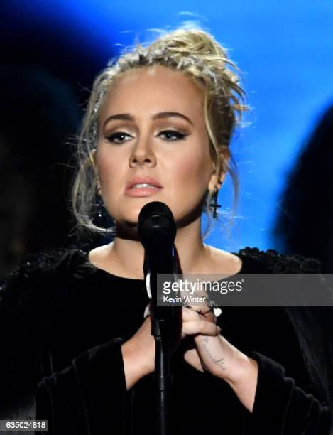Recording artist Adele performs onstage during The 59th GRAMMY Awards at STAPLES Center on February 12, 2017 in Los Angeles, California.