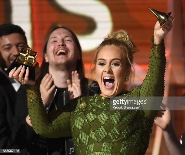 Recording artist Adele winner of Album of the Year for '25' speaks onstage during The 59th GRAMMY Awards at STAPLES Center on February 12 2017 in Los...