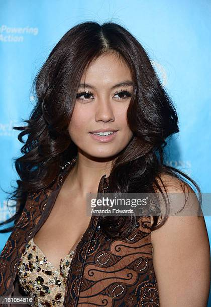 Recording artist Agnes Monica aka Agnez Mo arrives at the United Nations Foundation's mPowering Action Innovative Mobile Platform launch party at The...