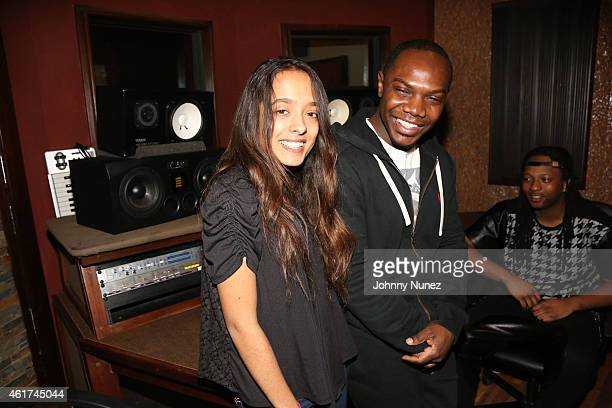 Recording artist Airy Jeanine and producer Kmack attend in studio on January 18 2015 in Weehawken New Jersey