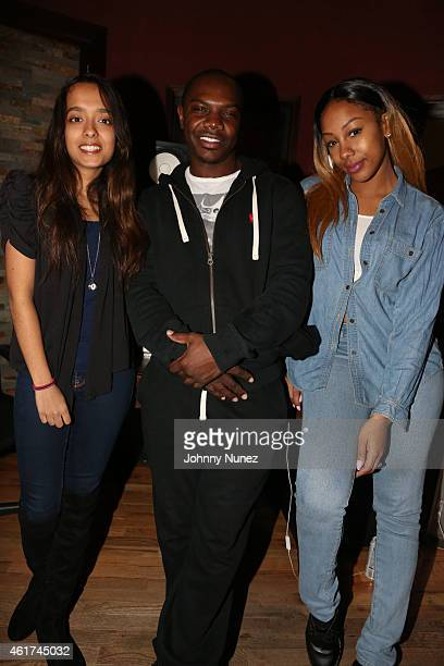 Recording artist Airy Jeanine producer Kmack and Kissie Lee attend in studio on January 18 2015 in Weehawken New Jersey