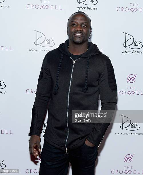 Recording artist Akon arrives at Drai's Beachclub Nightclub at the Cromwell Las Vegas for Chris Brown's performance kicking off Drai's LIVE 2016 on...
