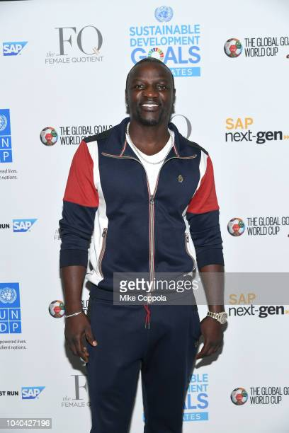 Recording artist Akon attends the 3rd Annual Global Goals World Cup at the SAP Leonardo Centre on September 25 2018 in New York City