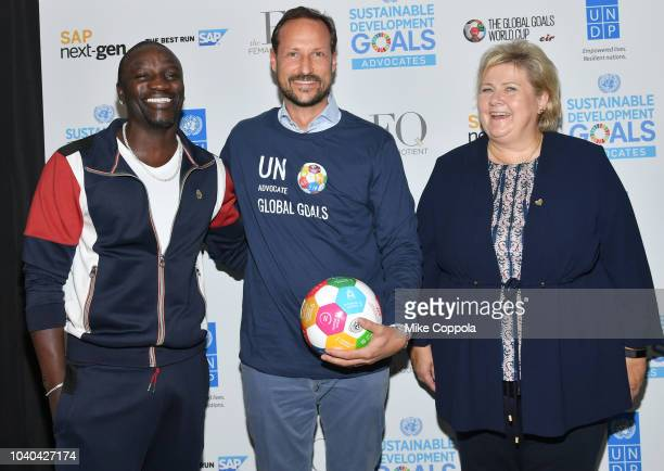 Recording artist Akon Haakon Crown Prince of Norway and Prime Minister of Norway Erna Solberg attend the 3rd Annual Global Goals World Cup at the SAP...