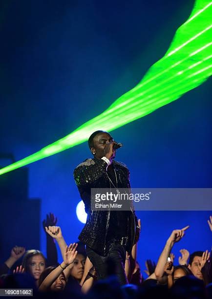 Recording artist Akon performs onstage during the 2013 Billboard Music Awards at the MGM Grand Garden Arena on May 19 2013 in Las Vegas Nevada
