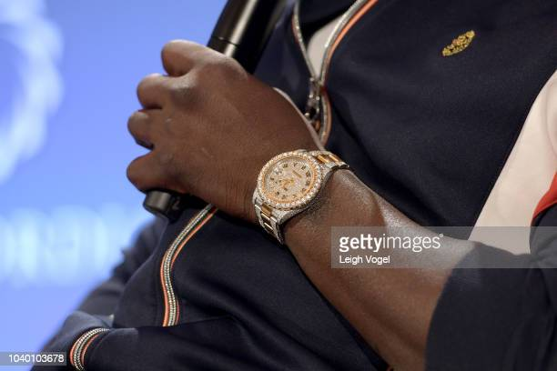 Recording artist Akon watch detail speaks onstage during the 2018 Concordia Annual Summit Day 2 at Grand Hyatt New York on September 25 2018 in New...