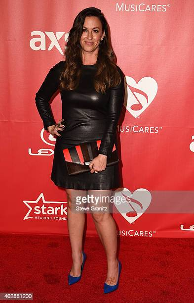 Recording artist Alanis Morissette attends the 25th anniversary MusiCares 2015 Person Of The Year Gala honoring Bob Dylan at the Los Angeles...