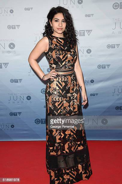 Recording artist Alessia Cara arrives at the 2016 Juno Awards at Scotiabank Saddledome on April 3 2016 in Calgary Canada