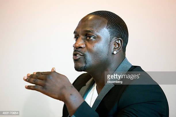 Recording artist Aliaune Akon Thiam speaks during a forum on African energy and innovation at the Newseum in Washington DC US on Monday Aug 4 2014 A...