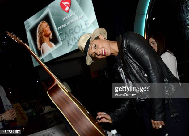 Recording artist Alicia Keys attends the 2014 MusiCares Person of the Year rehearsals VIP gifting and auction signings at the Los Angeles Convention...