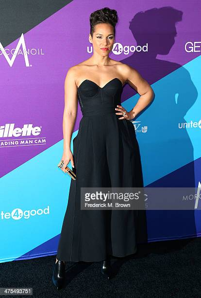 Recording artist Alicia Keys attends united4 good and Variety Magazine Present united4humanity at Sony Pictures Studios on February 27 2014 in Culver...