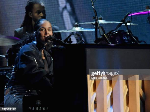 Recording artist Alicia Keys performs 2017 Tupac Shakur onstage at the 32nd Annual Rock Roll Hall Of Fame Induction Ceremony at Barclays Center on...