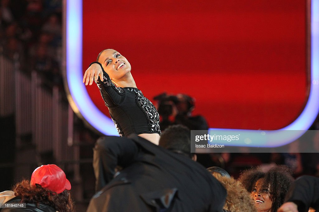 Recording artist, Alicia Keys, performs during halftime of the 2013 NBA All-Star Game on February 17, 2013 at Toyota Center in Houston, Texas.