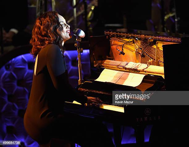 Recording artist Alicia Keys performs during Sinatra 100 An AllStar GRAMMY Concert celebrating the late Frank Sinatra's 100th birthday at the Encore...