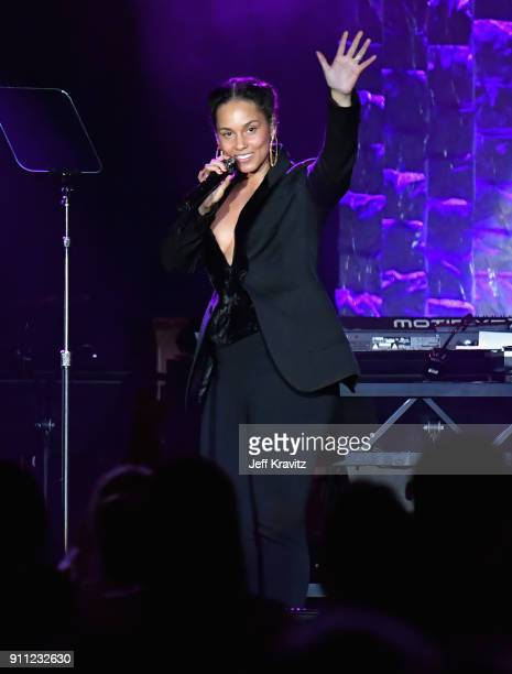 Recording artist Alicia Keys performs onstage during the Clive Davis and Recording Academy PreGRAMMY Gala and GRAMMY Salute to Industry Icons...