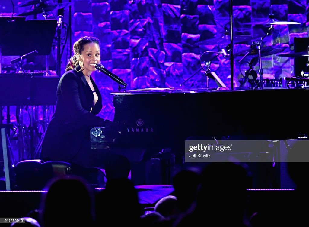 Recording artist Alicia Keys performs onstage during the Clive Davis and Recording Academy Pre-GRAMMY Gala and GRAMMY Salute to Industry Icons Honoring Jay-Z on January 27, 2018 in New York City.