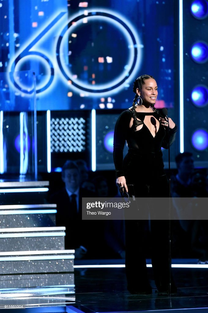 Recording artist Alicia Keys speaks onstage during the 60th Annual GRAMMY Awards at Madison Square Garden on January 28, 2018 in New York City.