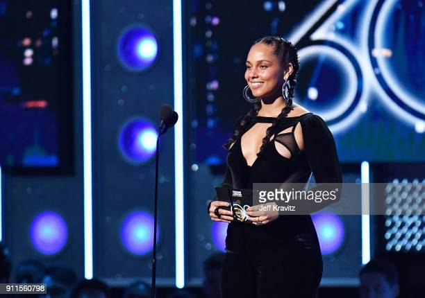 Recording artist Alicia Keys speaks onstage during the 60th Annual GRAMMY Awards at Madison Square Garden on January 28 2018 in New York City
