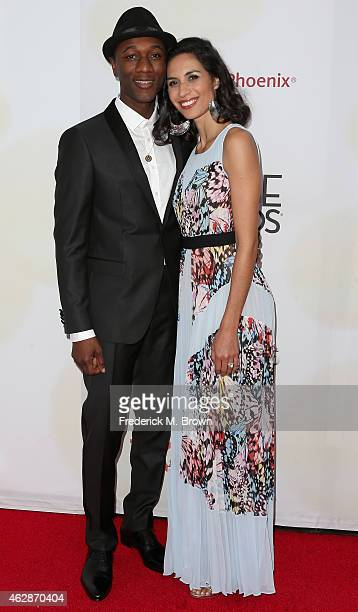 Recording artist Aloe Blacc and Maya Jupiter attend the 46th NAACP Image Awards presented by TV One at Pasadena Civic Auditorium on February 6 2015...
